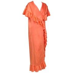 Orange Satin Sleeveless Ulster Cape Coat Dress with Cascading Ruffles–O/S, 1960s