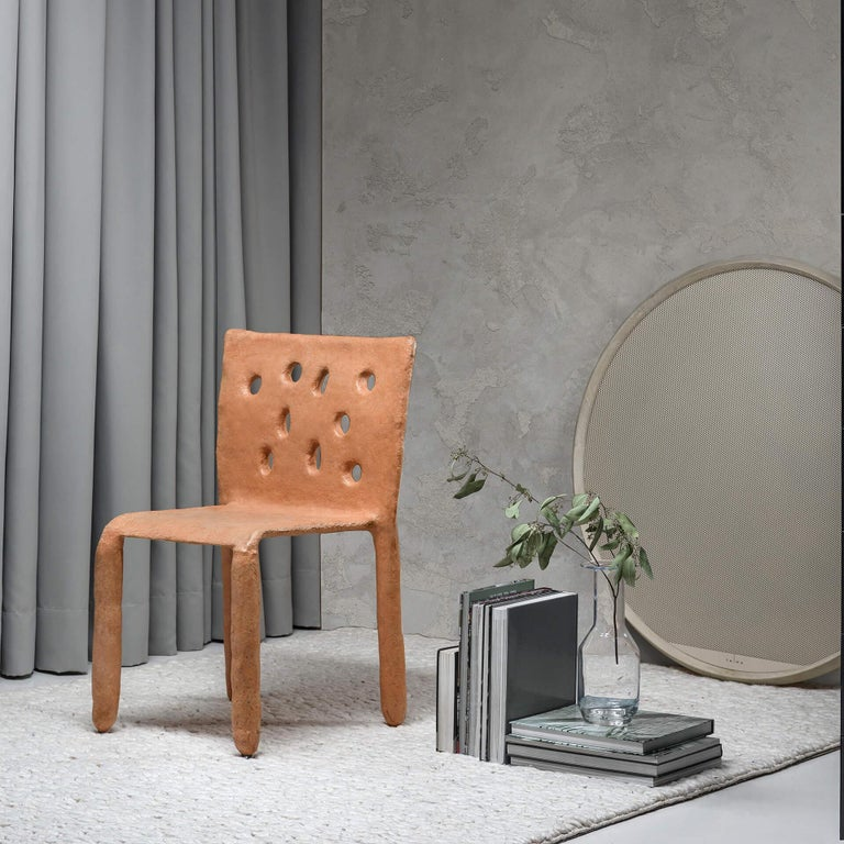 Organic Modern Orange Sculpted Contemporary Chair by Victoria Yakusha For Sale