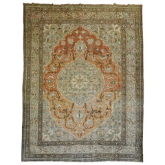 Orange Shabby Chic Persian Tabriz Room Siize Rug, Early 20th Century