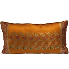 Orange Silk Pillow Custom Made from Indian Wedding Saris