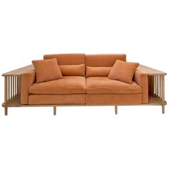 Orange Sofa Bookshelf Room Divider