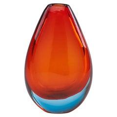 Orange Sommerso Glass Vase Attributed to Flavio Poli