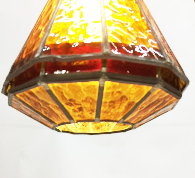 Orange and red stained glass ceiling lamp, 1930s