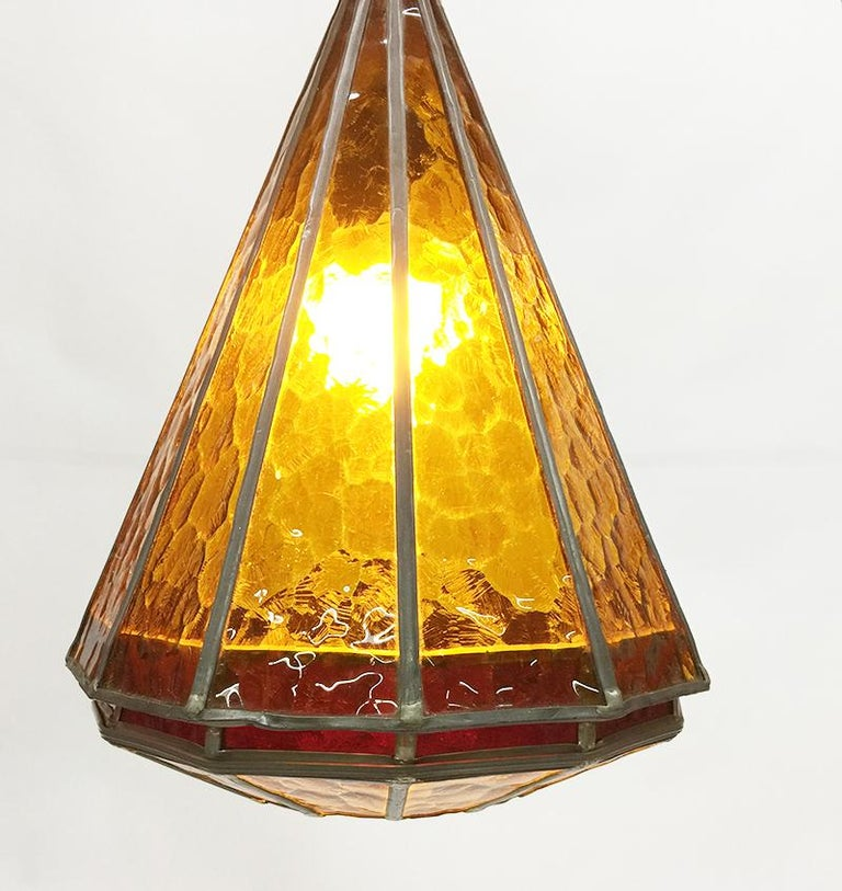Art Deco Orange Stained Glass Ceiling Lamp, 1930s For Sale