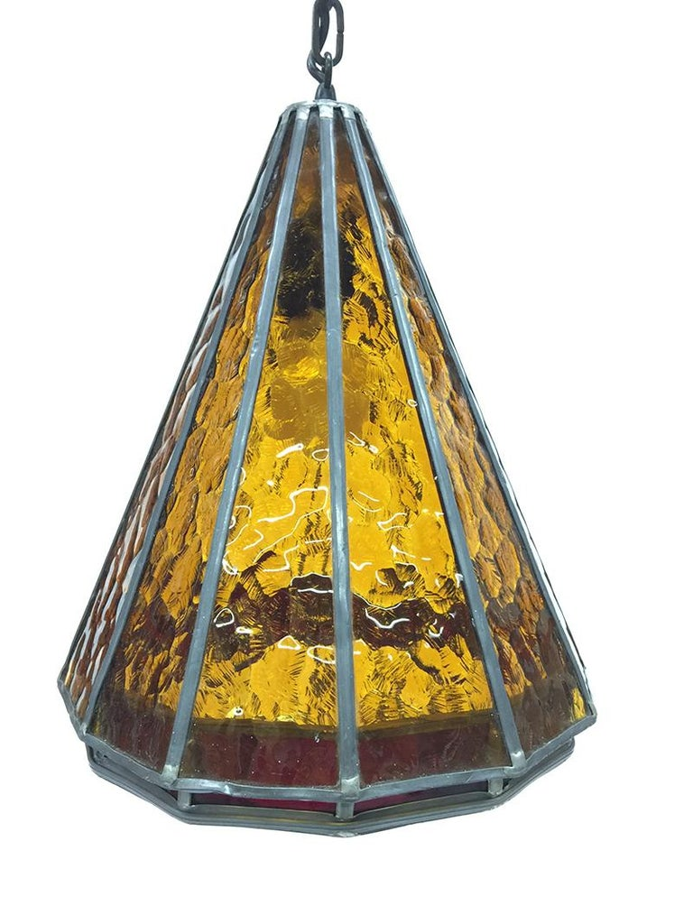 Dutch Orange Stained Glass Ceiling Lamp, 1930s For Sale
