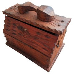 Orange Stained Vintage Moroccan Shoe Shine Box
