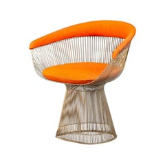 Orange, Steel and Fabric, Dining Chair, by Warren Platner for Knoll1, 960s