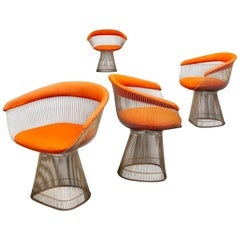 Orange, Steel and Fabric, Dining Chairs, by Warren Platner for Knoll, 1960s