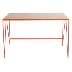 Orange Steel Study Desk or Writing Table with Birch Wood Table Top