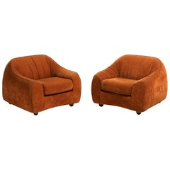 Orange Suede Easy Chairs