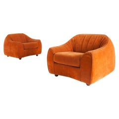 Orange Suede Italian Easy Chairs, 1960s