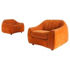 Orange Suede Italian Easy Chairs, 1960s