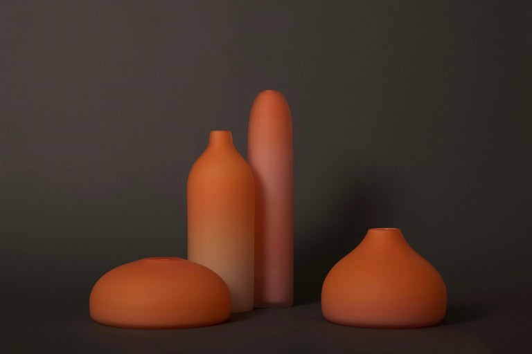 Arts and Crafts Hand Blown Orange Sunrise Hand Blown Glass Sculpture Vases by Jinyaglass For Sale