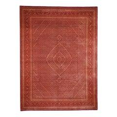 "Orange Tabriz Mahi Hand Knotted Wool and Silk Oriental Rug, 9'0""x12'1"""