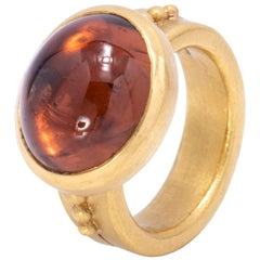 Orange Tourmaline Cabochon Ring in 22 Karat Gold