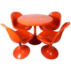 Orange Tulip Garden Set with 4 Chairs, painted Fiber Glass, 1960s