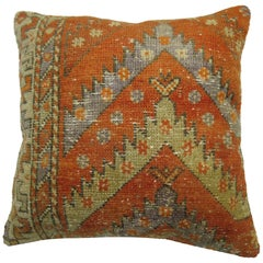 Orange Turkish Rug Pillow