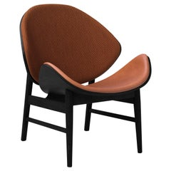 Orange Two-Tone Lounge Chair in Black Oak with Upholstery, by Hans Olsen