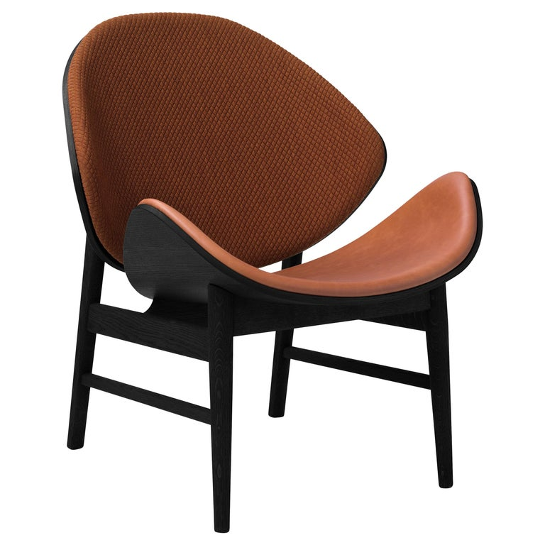 For Sale: Brown (Mosaic 472/Nevada 2488) Orange Two-Tone Lounge Chair in Black Oak with Upholstery, by Hans Olsen