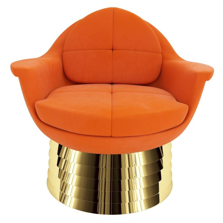 Art Deco Orange Velvet Lounge Chair with Polished Brass Base For Sale