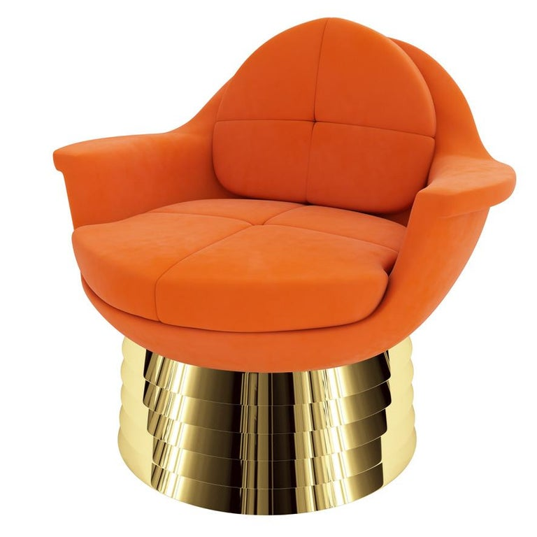 Portuguese Orange Velvet Lounge Chair with Polished Brass Base For Sale
