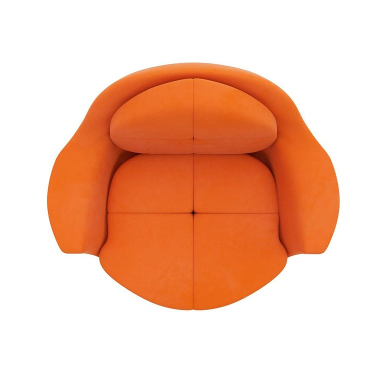 Orange Velvet Lounge Chair with Polished Brass Base In New Condition For Sale In Toronto, Ontario