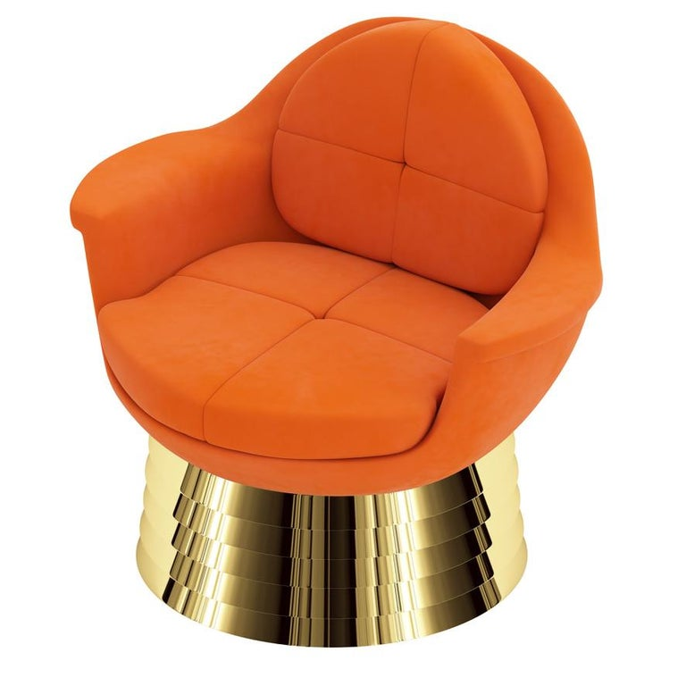 Contemporary Orange Velvet Lounge Chair with Polished Brass Base For Sale