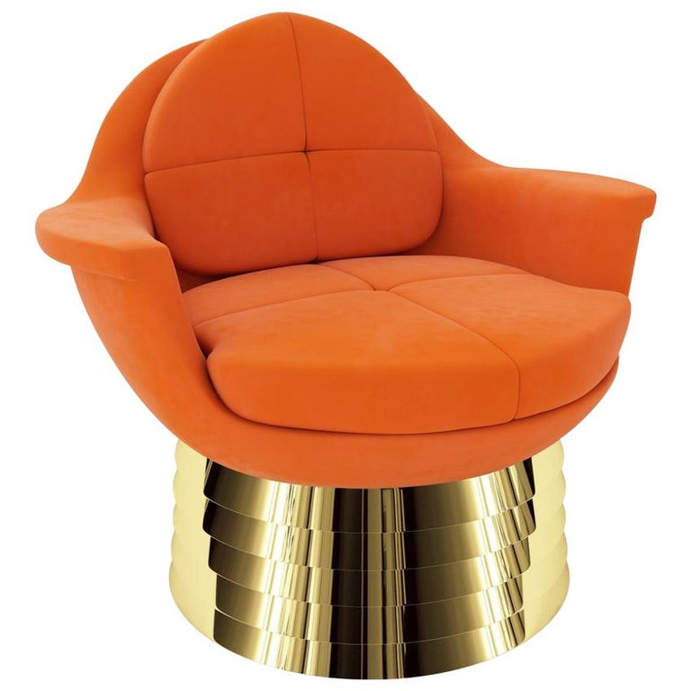 Orange Velvet Lounge Chair with Polished Brass Base For Sale