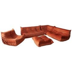 Orange Velvet Togo Sofa Set by Michel Ducaroy for Ligne Roset, Set of 5