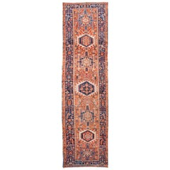 Orange Vintage Heriz Handmade Wool Runner