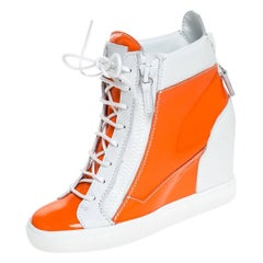 Orange/White Leather and Patent Leather High Top Wedge Sneakers Size 39