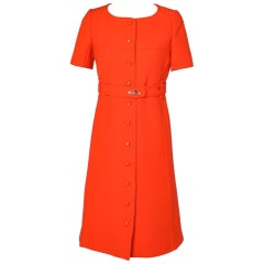 Orange wool jersey dress 1960/1970 with the Courrèges label