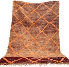 Orange Wool Moroccan Rug, Berber Carpet, Boujad, Late 1970s