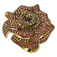 Orange-Yellow Sapphire 11.03 Carat Rose Ring