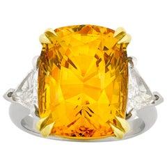Orangy-Yellow Sapphire Ring, 15.83 Carat