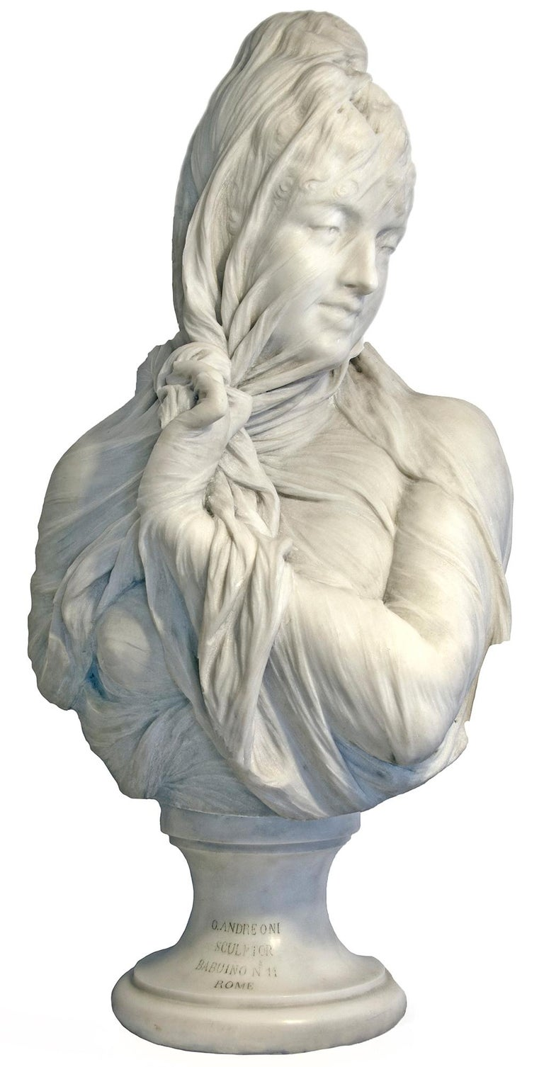 Veiled Female, Marble Bust,  Marble sculpture - Academic Sculpture by Orazio Andreoni