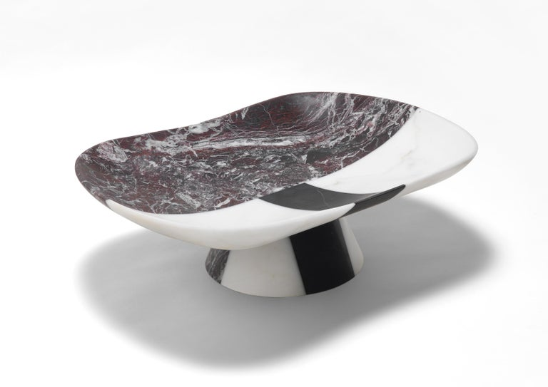 Oraziomarble centerpiece by Matteo Cibic Dimensions: 18.9 x 14 x 5.8 cm Materials:  Bianco Michelangelo, Rosso Levanto, Nero Marquinia  Matteo Cibic is an Italian designer and creative director. He is known for his objects with hybrid