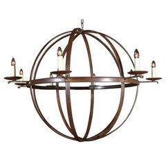 Orb Chandelier Made from Reclaimed Antique Iron Elements