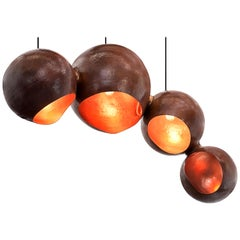Orb Enclose: Handmade Solid Copper Contemporary Chandelier