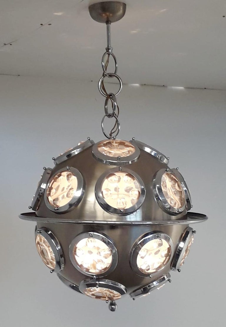 Vintage Italian pendant with brushed steel circular structure and optical beveled glass lenses / Designed by Oscar Torlasco circa 1960s / Made in Italy 6 lights / E12 or E14 type / max 40W each Diameter: 19.5 inches / Total Height: 31.5 inches