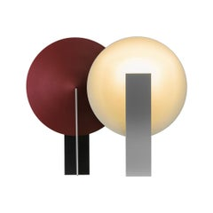 Orbe Table Lamp, by RAIN, Contemporary Lamp, Brass & Aluminium, Black & Red