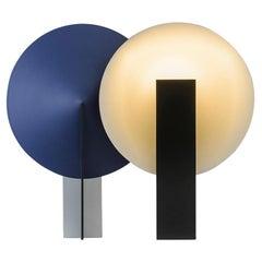 Orbe Table Lamp, by RAIN, Contemporary Lamp, Brass & Aluminium, Silver & Blue