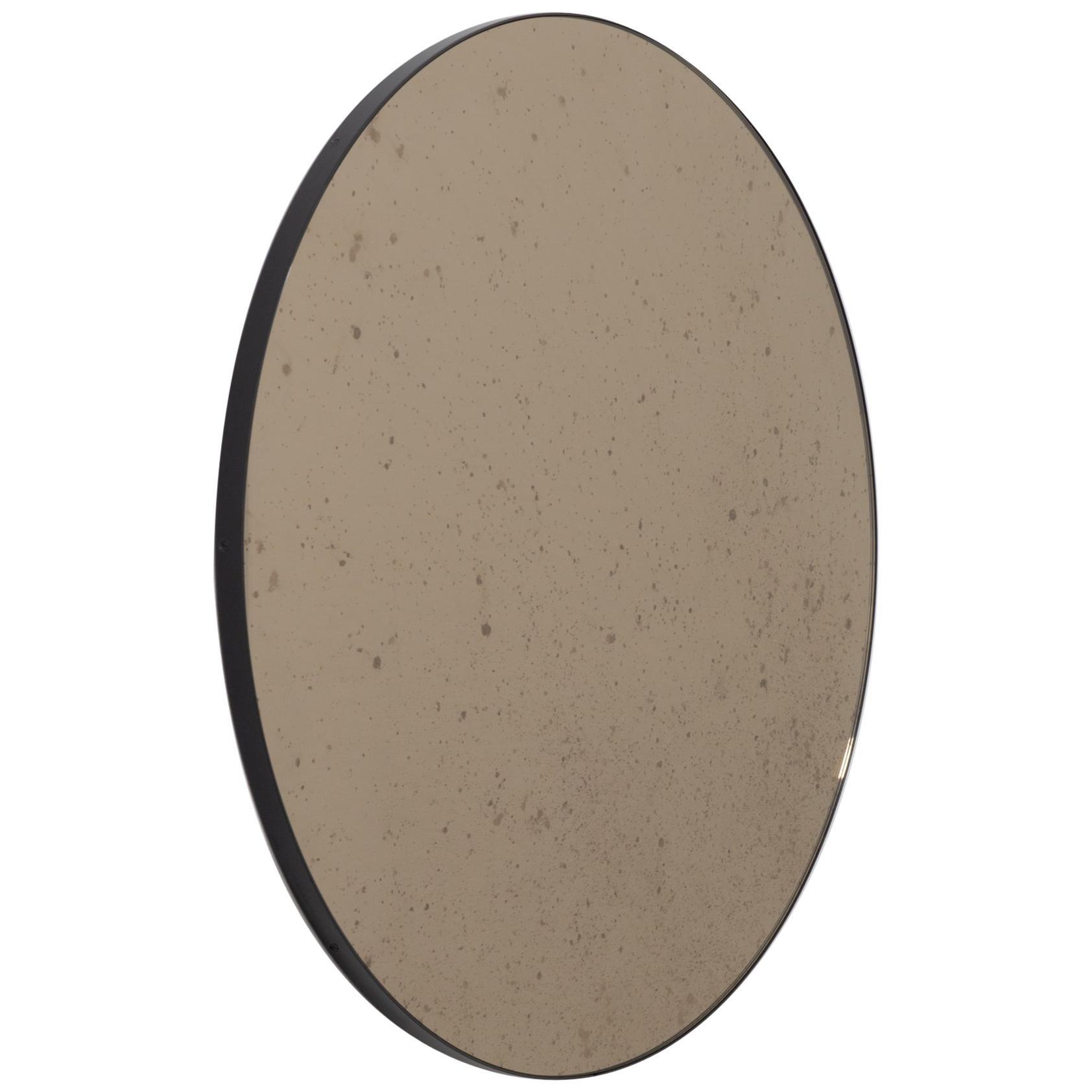Orbis™ Antiqued Bronze Tinted Modernist Round Mirror with Black Frame - Large