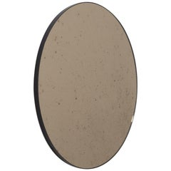 Orbis Antiqued Bronze Tinted Modern Round Mirror with a Black Frame, Oversized