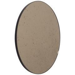 Orbis Antiqued Bronze Tinted Modern Round Mirror with a Black Frame, Regular