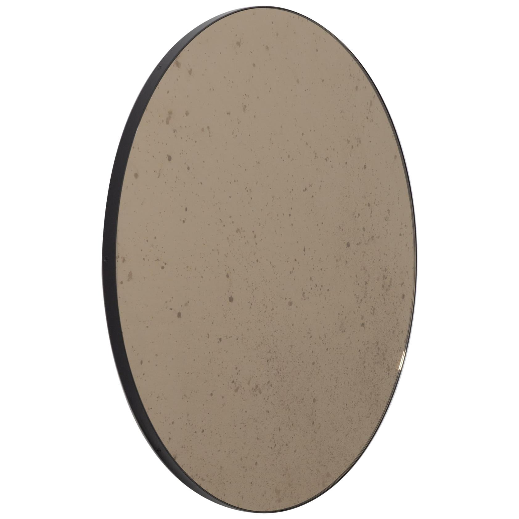 Orbis™ Round Antiqued Bronze Tinted Bespoke Mirror with a Black Frame - Small