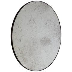Orbis™ Round Antiqued Art Deco Mirror with Brass Patina Frame - Oversized