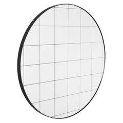 Orbis Black Grid Round Modern Customizable Mirror with Black Frame, Medium