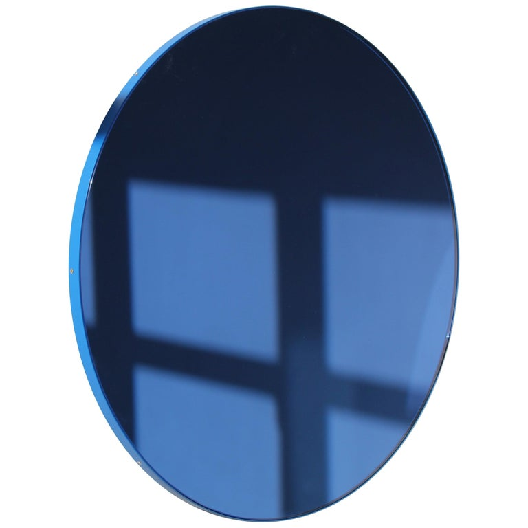 Orbis Circular Mirror with Blue Frame and Blue Tint, Medium Size For Sale