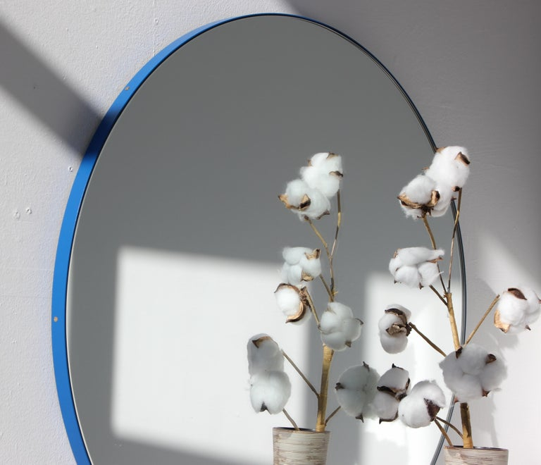 Orbis Circular Mirror with Blue Frame, Medium Size In New Condition For Sale In London, GB